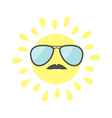 Sun shining icon Sun face with sunglassess and vector image vector image