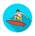 Surfer in action icon in flat style isolated on vector image
