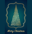 swirl christmas tree greening card on a blue vector image vector image