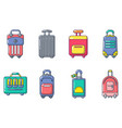 travel bag icon set cartoon style vector image