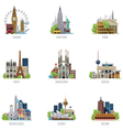 Travel destinations icon set vector | Price: 3 Credits (USD $3)