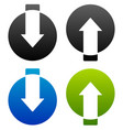 up-down arrows cut in circles vector image vector image