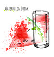 watermelon drink with slice watermelon fresh vector image