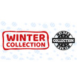 winter collection scratched and clean stamp seals vector image