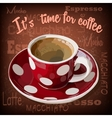 Red coffee cup with white polka dots vector image