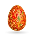 Colorful easter red egg with ornate doodle floral vector image