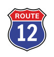 12 route sign icon road 12 highway vector image vector image