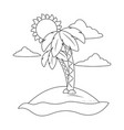 beach cartoon in black and white vector image vector image