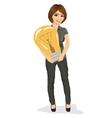 Beautiful businesswoman holding big light bulb vector image