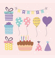 birthday cake gifts balloons bunting decoration vector image vector image