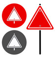 blank trianglular road sign stylized version vector image vector image