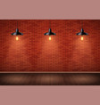 brick wall room with vintage pendant lamps vector image vector image