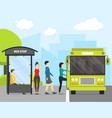 Cartoon bus stop with transport and people
