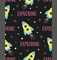 cartoon pattern with space rocket vector image