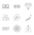 Casino icons set outline style vector image vector image