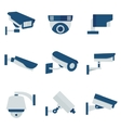 CCTV security video camera flat icons set vector image vector image