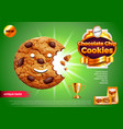 chocolate chip cookies ads background vector image vector image
