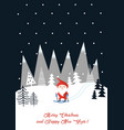 christmas decoration with santa in winter forest vector image vector image
