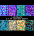 cityscape seamless pattern set isometric city vector image