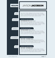 clean business resume template vector image vector image