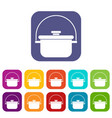 cooking cauldron icons set vector image vector image