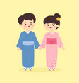 cute japanese kimono couple cartoon vector image