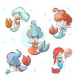 cute little mermaids set for vector image