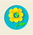 earth day paper cut out flower world concept vector image vector image