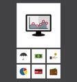 flat icon incoming set of graph chart billfold vector image vector image