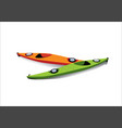 flat of two kayaks on the shore vector image vector image