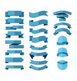 geometric ribbon stripes banners set blue vector image vector image