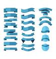 geometric ribbon stripes banners set blue vector image