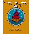 Greeting card with glass ball and Christmas tree vector image