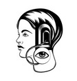 hand drawn of young girl with door in her head vector image vector image