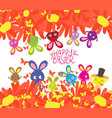 happy easter with rabbit sunflowers and vector image