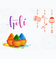 happy holi celebration poster design with mud vector image vector image