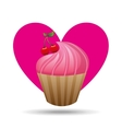 heart cartoon pink cupcake sweet cherry icon vector image vector image
