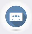 Hipster audio or cassette icon with long shadow vector image