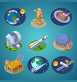 isometric space elements set vector image vector image