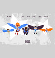 landing banner kids superhero with wings vector image