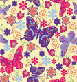 pattern of butterflies and flowers vector image