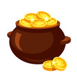 pot full golden coins with clover symbol vector image vector image