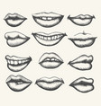 retro smiling and kissing mouth set vector image vector image