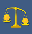 Scales with Euro and Pound Sterling symbols vector image vector image