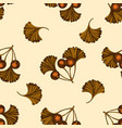 seamless pattern with hand drawn colored ginkgo vector image vector image