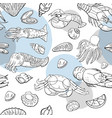 seamless pattern with seafood and fish vector image vector image