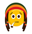 serious emoji smoking with a reggae hat vector image