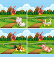 set farm animal in nature vector image vector image
