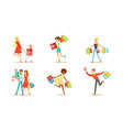 set happy people carrying shopping bags vector image vector image