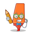 student with pencil highlighter cartoon character vector image